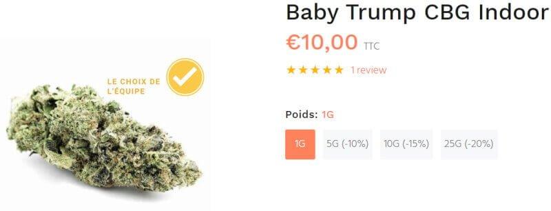 baby trump cbg fleur cbd